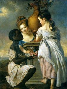 Joseph Wright Of Derby - A Conversation of Girls (Two Girls with Their Black Servant)